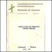 Resultado De Pesquisa Verao 1987 1988 / Organizacao Das Cooperativas Do Estado Do Parana / 6668